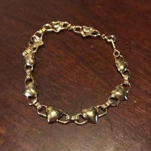 Avon Vintage Goldtone Heart Link Bracelet